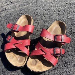 Birkis! red Birkenstock sandals. Size 36